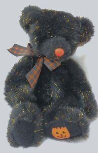 """Russ Stuffed Plush Bear """"Sparky"""" Halloween Black Orange Sparkly Teddy Bear"""
