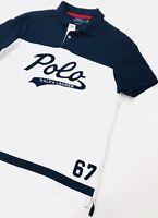 Ralph Lauren Polo Shirt Custom Slim Fit White And Navy