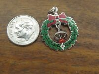 Vintage silver ENAMEL CHRISTMAS WREATH & MOVABLE BELL charm NEW STOCK JMF CO. #F