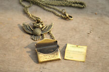 harry potter Owl Post Necklace with Hogwarts Acceptance Letter locket necklace