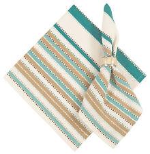 "100% Cotton Teal Beige White Stripe, Set of 6 - 22""x22"" Napkin - Sandpiper"