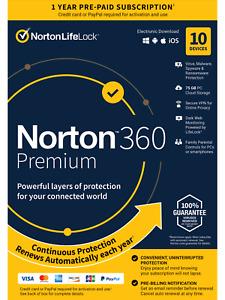 Norton 360 Premium 2021 Antivirus Software 10 Devices WINDOWS MAC IOS ANDROID