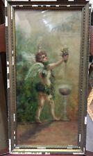 peinture tableau néo classique huile ange chérubin vigne vin XIX ème & cadre