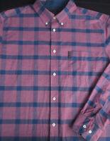 Ben Sherman Mens Button Front Long Sleeve Lilac Blue Plaid Logo Shirt X Large XL