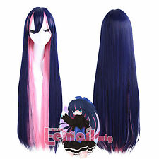 Panty&Stocking with Garterbelt Long Straight Blue Pink Mix Cosplay Wigs USA Ship