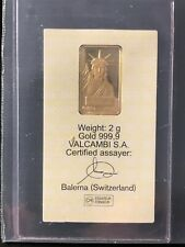 New listing Statue of Liberty- 2 Grams Gold Bar Ingot- Credit Suisse- Valcambi - Sealed 24kt