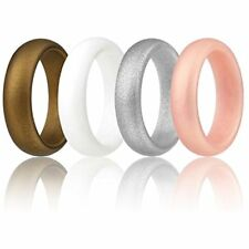 Silicone Wedding Ring Women By ROQ, Set Of 4 Rubber Bands - Rose Gold, Silver,