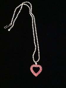 Clear Rhinestone Chain, Pink Rhinestone Heart Necklace Silver Tone, Valentine's