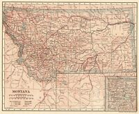 1908 Antique Montana State Map Original Vintage Map of Montana Gallery Wall 7831