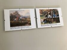 Mounted Pictures, Set 2, Equestrian Themed, Framed, w/Hangers, 7 x 5 ""