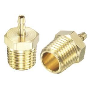 """2pcs Brass Hose Barb Fitting Straight 1/8"""" x NPT 1/4 Male Thread Pipe Connector"""