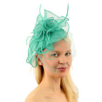 CC Sinamay Feathers Netted Veil Fascinators Headband Cocktail Derby Hat
