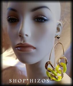 LARGE ACRYLIC CHUNKY CHAIN LINK HOOP STATEMENT EARRINGS NEW PICK YOUR SIZE