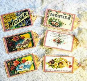 Set of 6 Hang Tags~Vintage Mothers Day~Small Gift Tags~Scrapbook~Card Craft~#89R