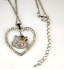 Hello Kitty Necklace Gold Bow Crystal Fashion Jewelry