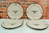 Enamel Texas Longhorn Plates SET Of 4 Monterey Western Ware Made In Mexico RARE