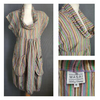 MASAI candy striped bubble hem pockets cowl neck dress boho lagenlook • Medium