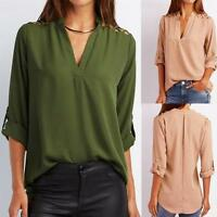 Women V-Neck Chiffon Solid Tab-Sleeve Hollow Out Blouse T Shirt Tops Blouse New