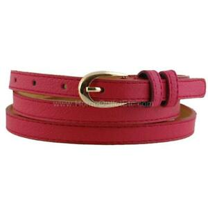 """1/2"""" Skinny Pebble Grain Textured Leather Belt Stitched Edge Solid Jeans Narrow"""