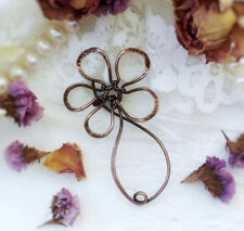 camomile brooch Wire wrapped jewelry Copper flower pin 50 birthday gift mom