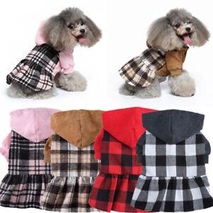 Dog Cat Plaid Fleece Dress Casual Hoodies Skirt Puppy Dog Clothes Pet Supplies A