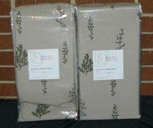 "Pair of Ballard Designs Botanical Embroidered Drapery Panel Olive Green 50x108"""