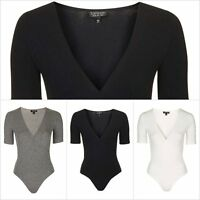Ex Topshop Women's Wrap Front Body Half Sleeve Bodysuit Leotard Top RRP £18
