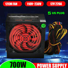 Black Active PFC PSU 700W Silent Fan ATX 24-PIN 12CM PC Computer Power Supply