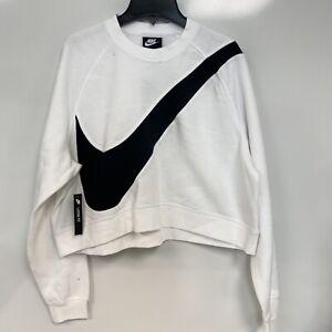 Nike Sportswear Womens White Fleece Swoosh Sweatshirt Top Size L $65 (STAINS)