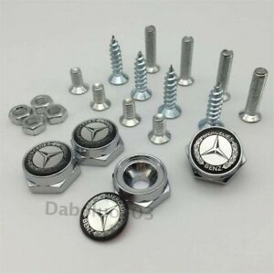 Car Auto License Plate Screws Bolt Caps Badge Styling Logo For Mercedes-Benz