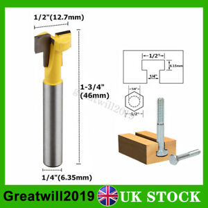 1//2*5//16 Shank Straight T-track T-Slot Router Bit Woodworking Chisel Cutter \UK
