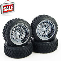4X Rubber Tires Wheel Set 12mm Hex For HSP HPI RC 1/10 Rally Racing Off Road Car