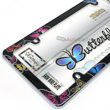 Butterfly Plastic Chrome License Plate Tag Frame for Auto-Car-Truck