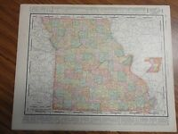 Nice 1898 antique colored map of Missouri or Iowa. by Rand, McNally & Co.