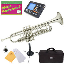 Mendini Bb Trumpet Silver Nickel Plated Student Band +Tuner+Case+CareKit ~MTT-N