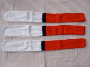NWOT Men's Long Ball Sports Socks White w/ Orange & Navy Size XL 3 Pair