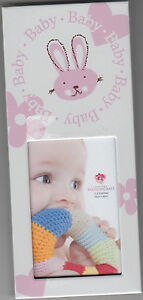 """Baby Picture Frame with Bunny Design by Fashion Craft, Girl, 2.5"""" x 5.75"""", New"""