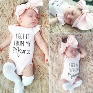 Cute Newborn Baby Girl Clothes Romper Jumpsuit Top + Headband 2PCS Outfit Set