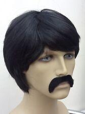 The Mexican Men's Black Fancy Dress Wig and Droop Moustache Set.(Short Cut)