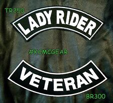 Military Biker Patch Set Lady Rider Veteran Embroidered Patches Sew on Patches f