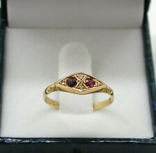 1912 Antique Beautiful 18ct Rose Gold Ruby And Diamond Gypsy Ring Size Q
