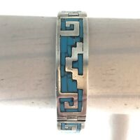 Vintage 925 Sterling Silver bracelet with Turquoise Inlay stamped TC 257 Mexico