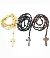 Wooden Rosary Bead Necklace Cross High Quality mens cross Birthday Christmas