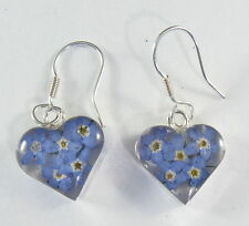 925 sterling silver small heart earrings with real flowers pattern 2