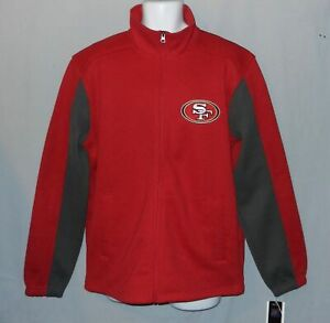 New Mens NFL San Francisco 49ers Knit Jacket Sweater Size L Red Gray Large
