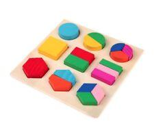 Montessori Wooden Puzzle Children Toys Shape Colour 3D Blocks