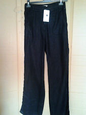 Adini 100% linen trousers zip front back waist elastic front and back pockets