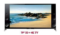 "Sony XBR 79X900B 79"" 3D + 4K Ultra HD TV w/ Surround Sound + Free 1 YR Warranty!"