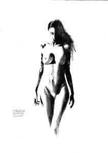 original painting A3 455OJ art by samovar oil dry brush female nude Signed 2021