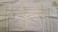Antique white linen TENERIFE hand work tablecloth 29 x 29 topper centerpiece vtg